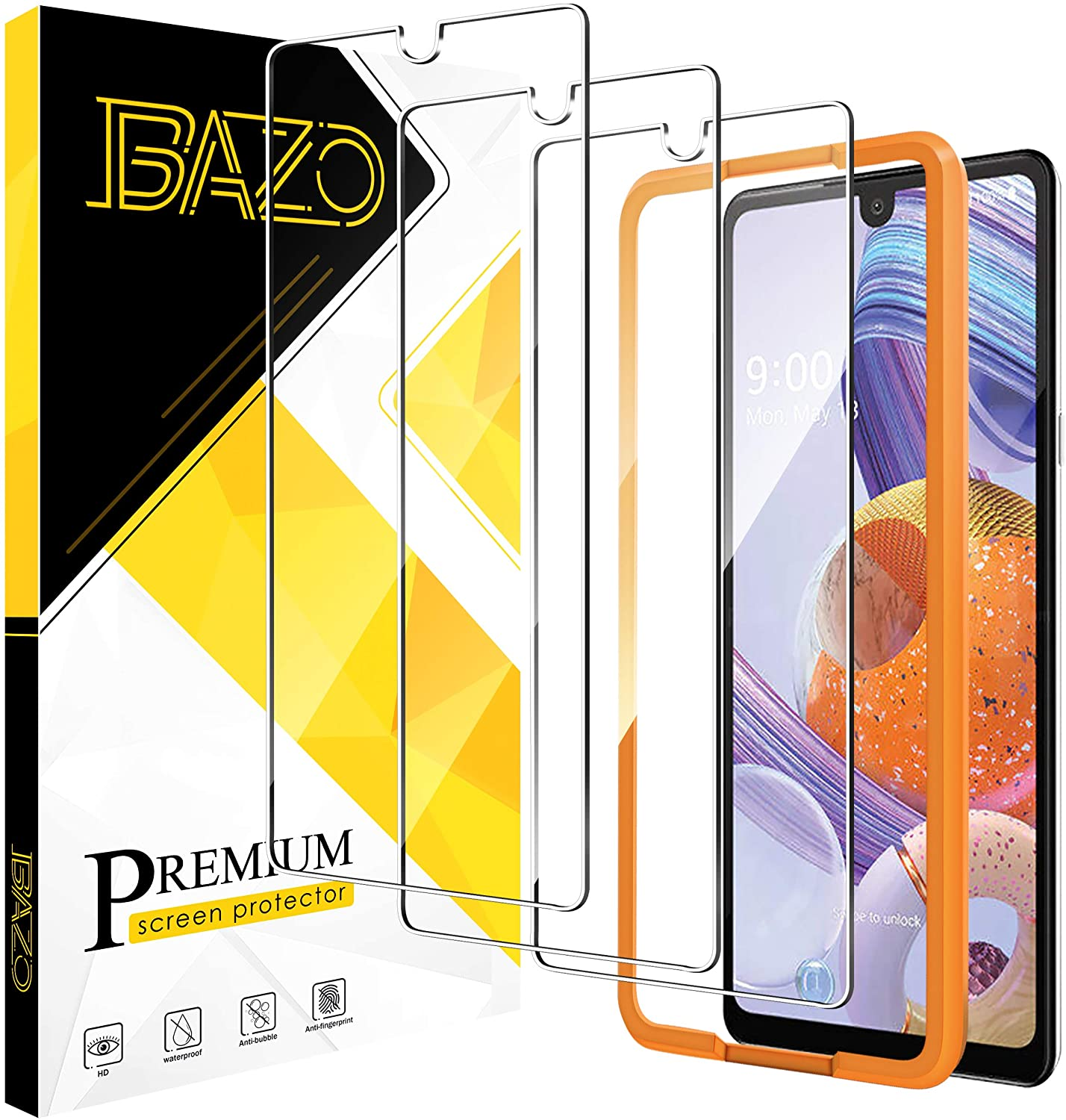 BAZO 3 Pack Screen Protector Tempered Glass for LG Stylo 6 with True Touch [Anti-Scratch] [Alignment Easy Installation Frame] HD [Fit with Most Cases]
