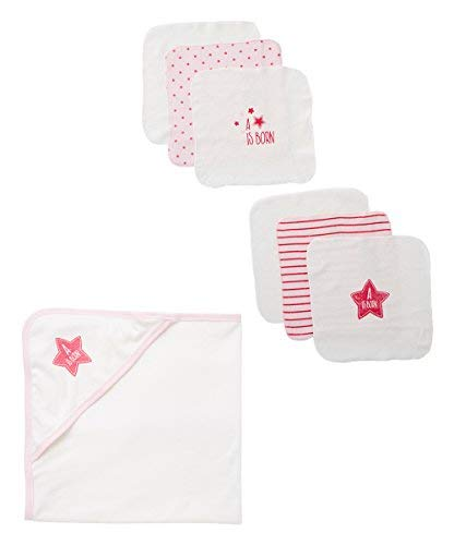BornCare Baby 1 Hooded Towel and 6 Washcloths Set, Pink