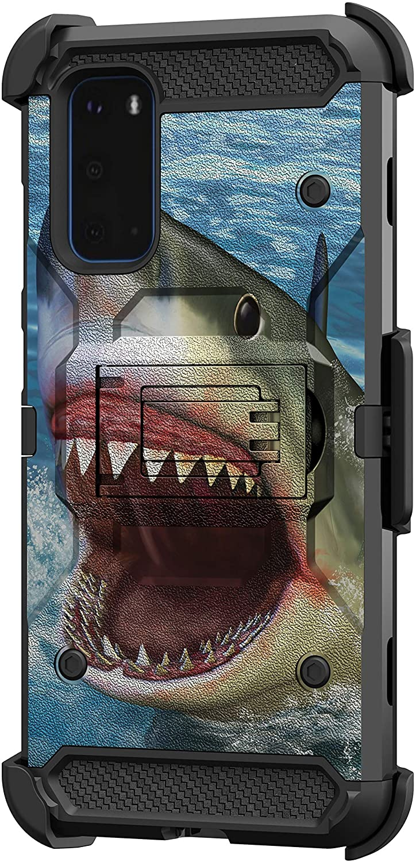 TurtleArmor | Compatible with Samsung Galaxy S20 Case 6.2 | S11e Case [Armor Pro] Armor Full Body Rugged Hybrid Kickstand Holster Belt Clip Case Sea Ocean - Shark Attack