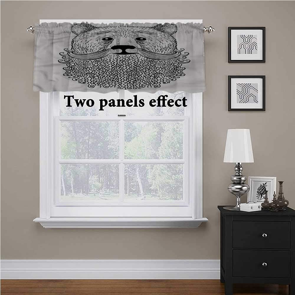 shirlyhome Indie Window Scarf Doodle Bear with Beard for Kids Room/Baby Nursery/Dormitory, 60 Inch by 18 Inch 1 Panel