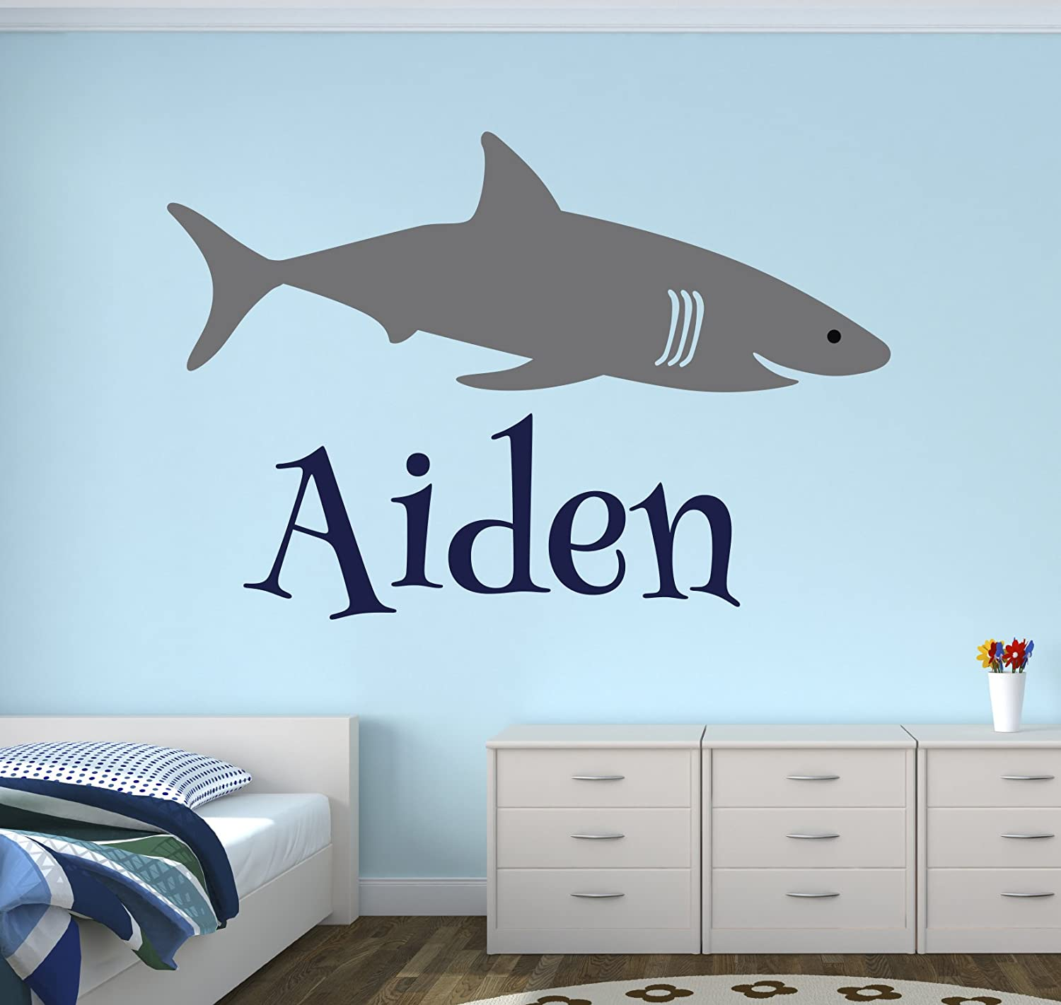 Personalized Name Shark Wall Decal - Boy Name Wall Decal Kids Room Decor - Shark Wall Decal Nursery Decor (40Wx26H)