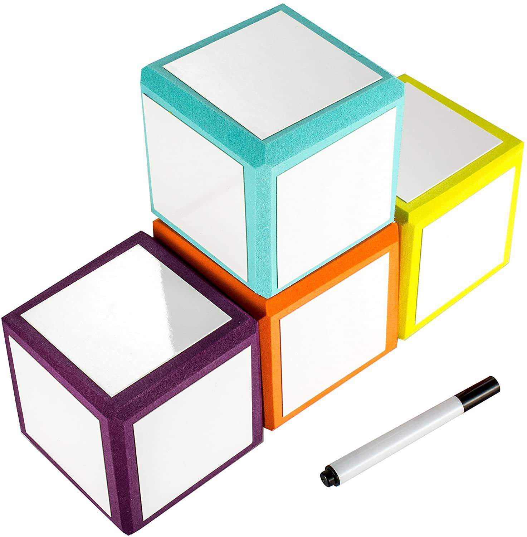 Joefan Foam Dry Erase Blocks , Dry Erase Cubes, Erasable Cubes,Dry Erase Dice Blocks,Assorted Colors,Set of 4