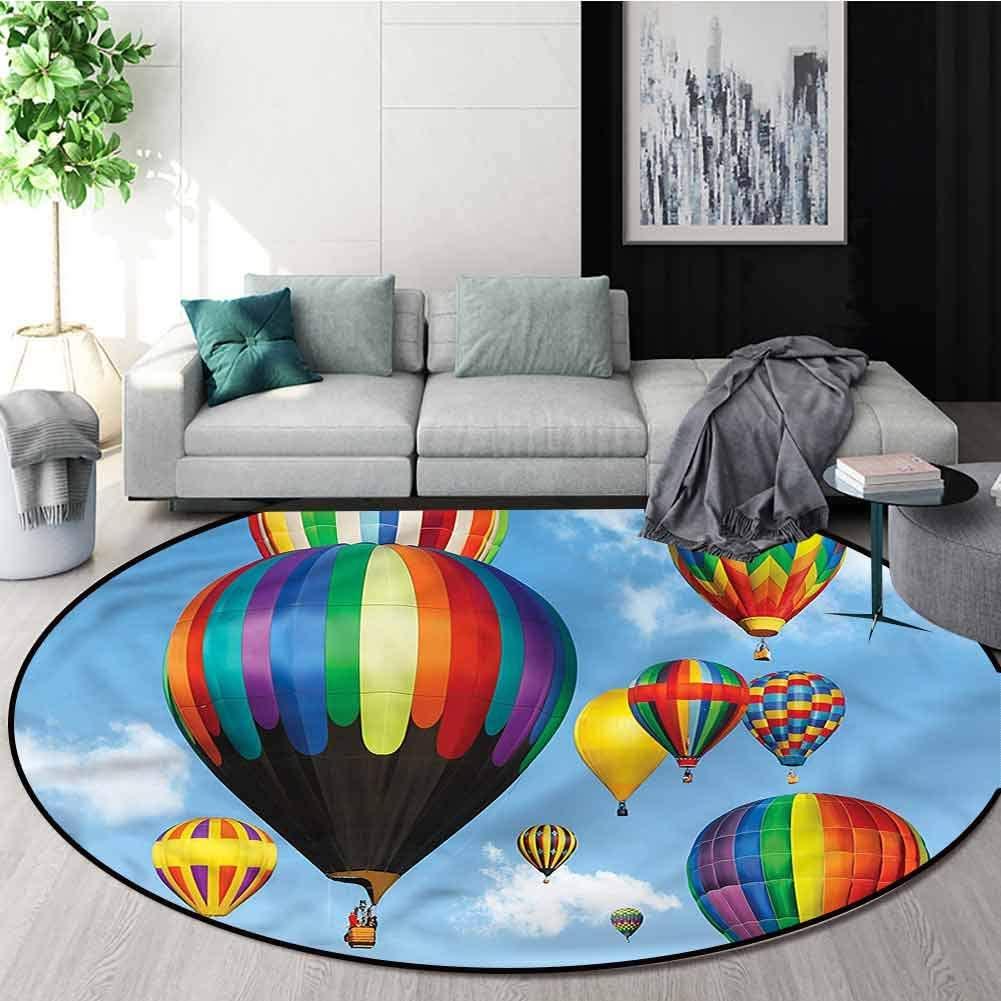 RUGSMAT Colorful Modern Machine Round Bath Mat,Hot Air Balloons Journey Baby Room Decor Round Carpets Round-31
