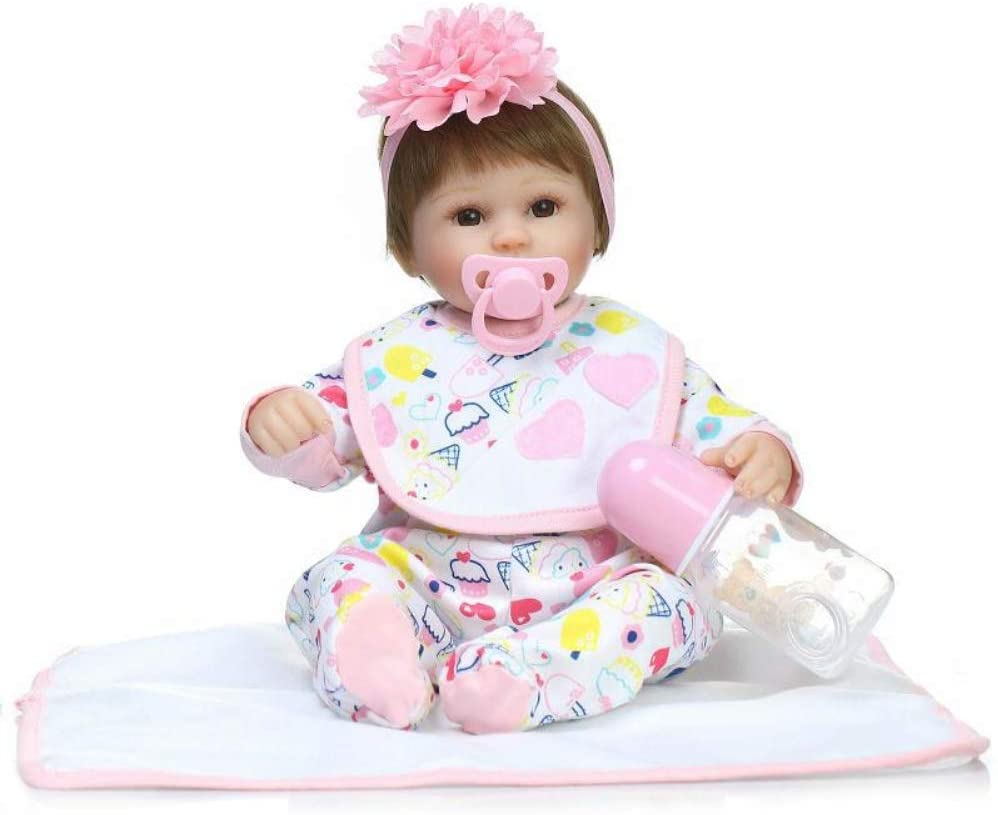 AKDSteel 42CM Simulation Full Silicone Newborn Dolls Lifestyle Princess Baby Education Toy Super Soft Baby Comfort Helper Christmas Toys Gifts