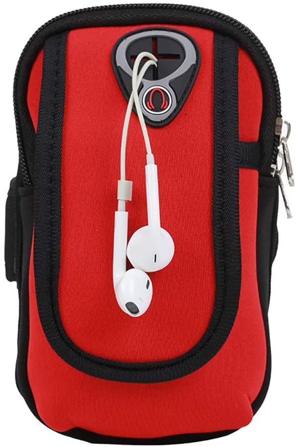 Phone Arm Bag Multifunctional Pockets Exercise Workout Running Waterproof Arm Bag with Earphone Hole Aompatible 4-6 inch Phone (red)