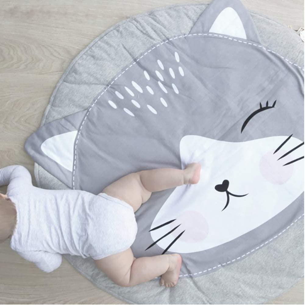 ZMIN New Pattern Baby Play Mat,Round Cotton Kids Crawling Carpet Floor Rug Baby Bedding Blanket Game Pad Children Room Decor Cat Diameter 92cm(36