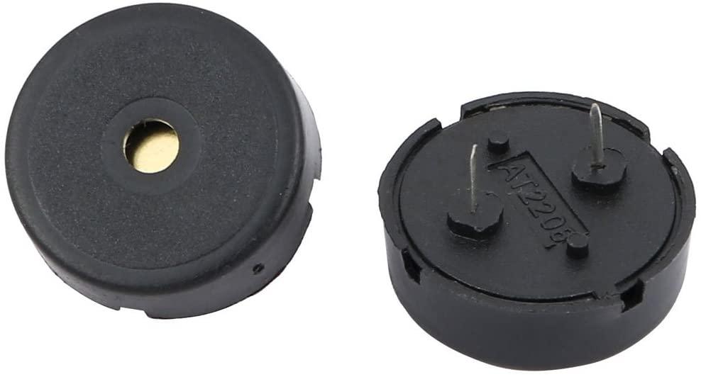 uxcell 2Pcs 2 Terminals 80dB Piezo Passive Stereo Electronic Buzzer 22mm Diameter Black