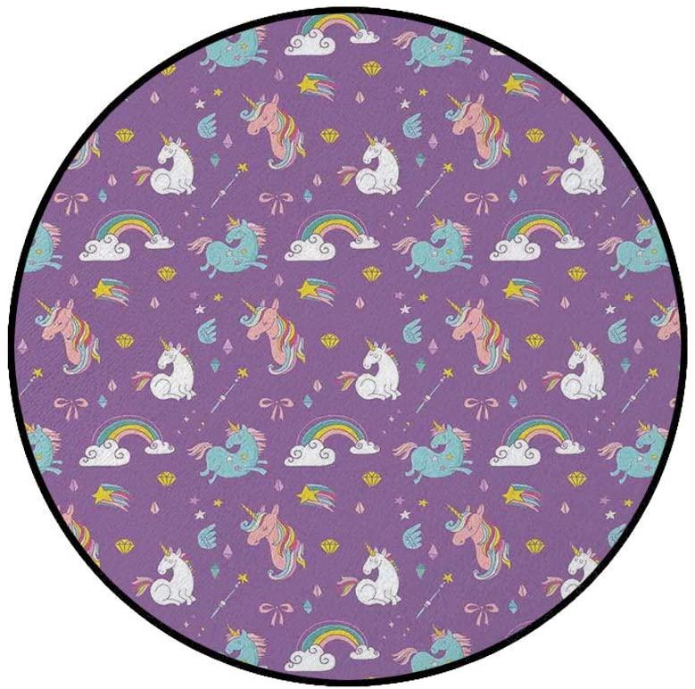 3' Round Area Rugs,Unicorn and Rainbows Diamonds Wand Pattern Nursery Baby Girl Creature Print Super Soft Washable Carpet for Living Room Bedroom Home Children Playroom Nursery, Multi
