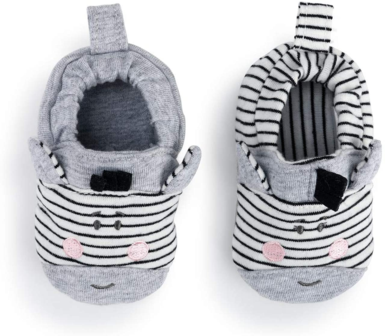 Zebra Grey Stripe 6-9 Months Cotton and Polyester Infant Bootie Socks