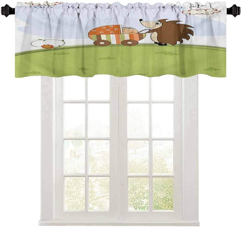 Aishare Store Funny Valance, Baby Shower Theme A Hedgehog Pushing a Stroller with Baby Illustration, 1 Panel 54