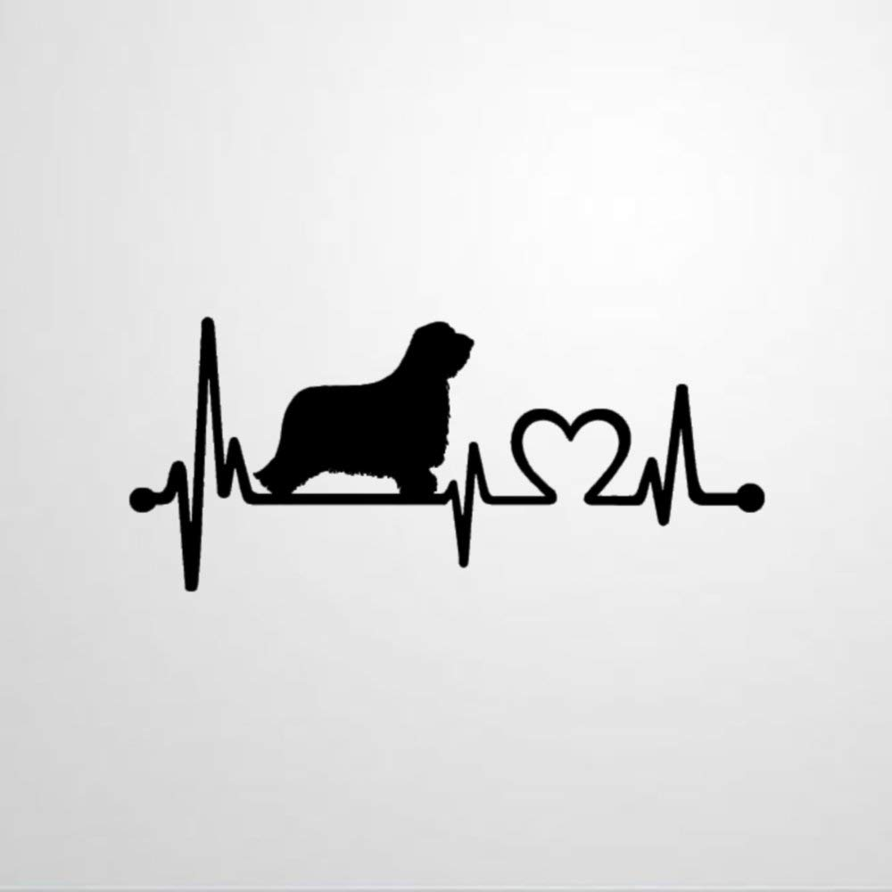 Bearded Collie Heartbeat Lifeline Wall Decal Saying, Wall Sticker Family Room,Wall Art Decor for Boys Room Kids Bedroom Living Room
