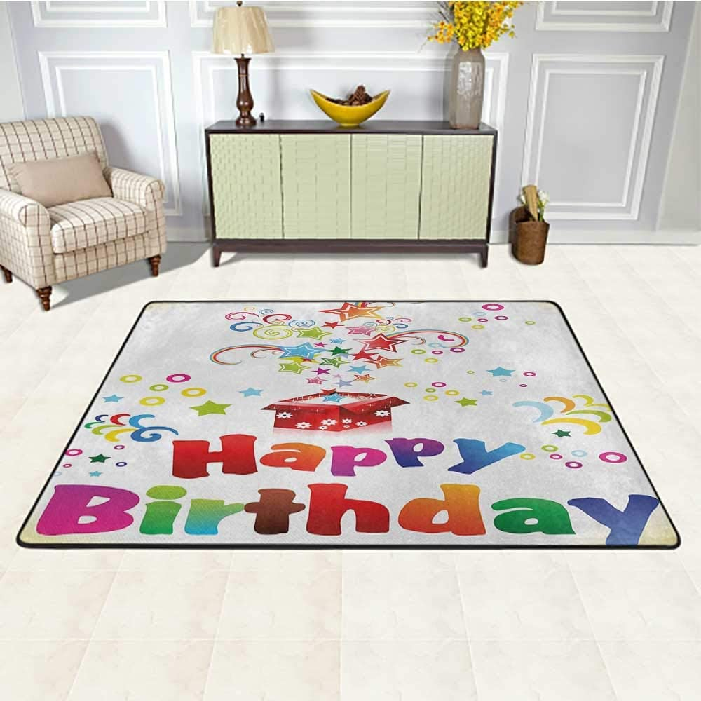 Birthday Rugs and Carpets 4' x 6', Stars Swirls Spirals and Circles Coming Out of Present Surprise Boxes Happiness Kids Play Rug, Multicolor