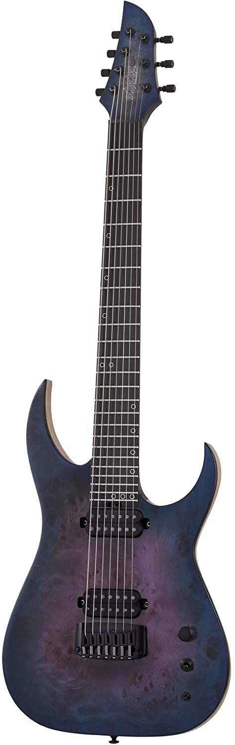 Schecter Guitar Research 7 String Solid-Body Electric Guitar, Right, Blue Crimson, Full (303)