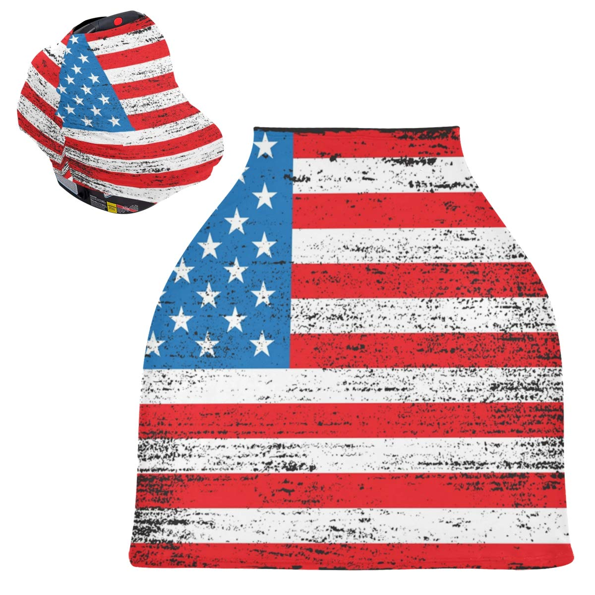 Stretchy Baby Car Seat Canopy - Old American Flag Vintage Dirty Infant Stroller Cover Multi Use Carseat Scarf Nursing Cover for Boy