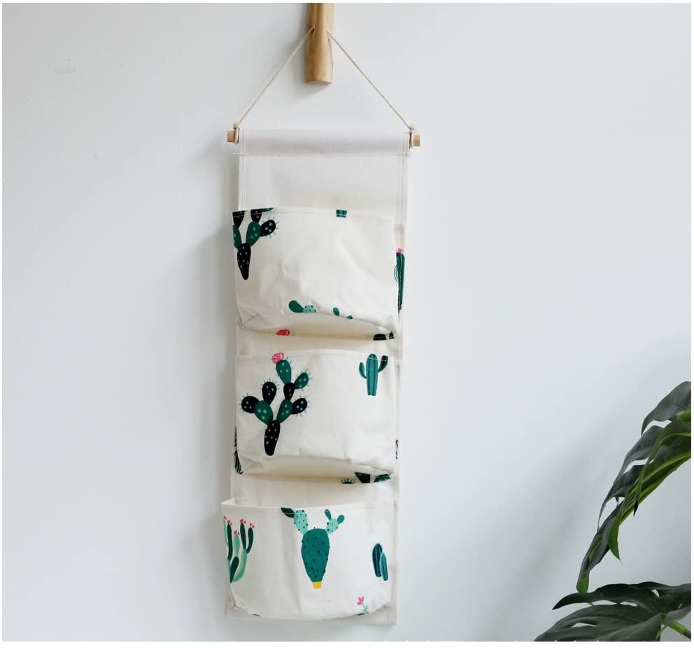 Fabric Wall Door Closet Hanging Storage Bag Small Cotton Hanging Pocket Door Hanging Organizer 3 Pockets