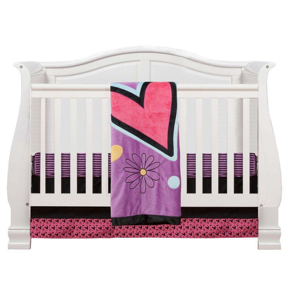 One Grace Place Sassy Shaylee Infant Crib Bedding Set, Black/Purple
