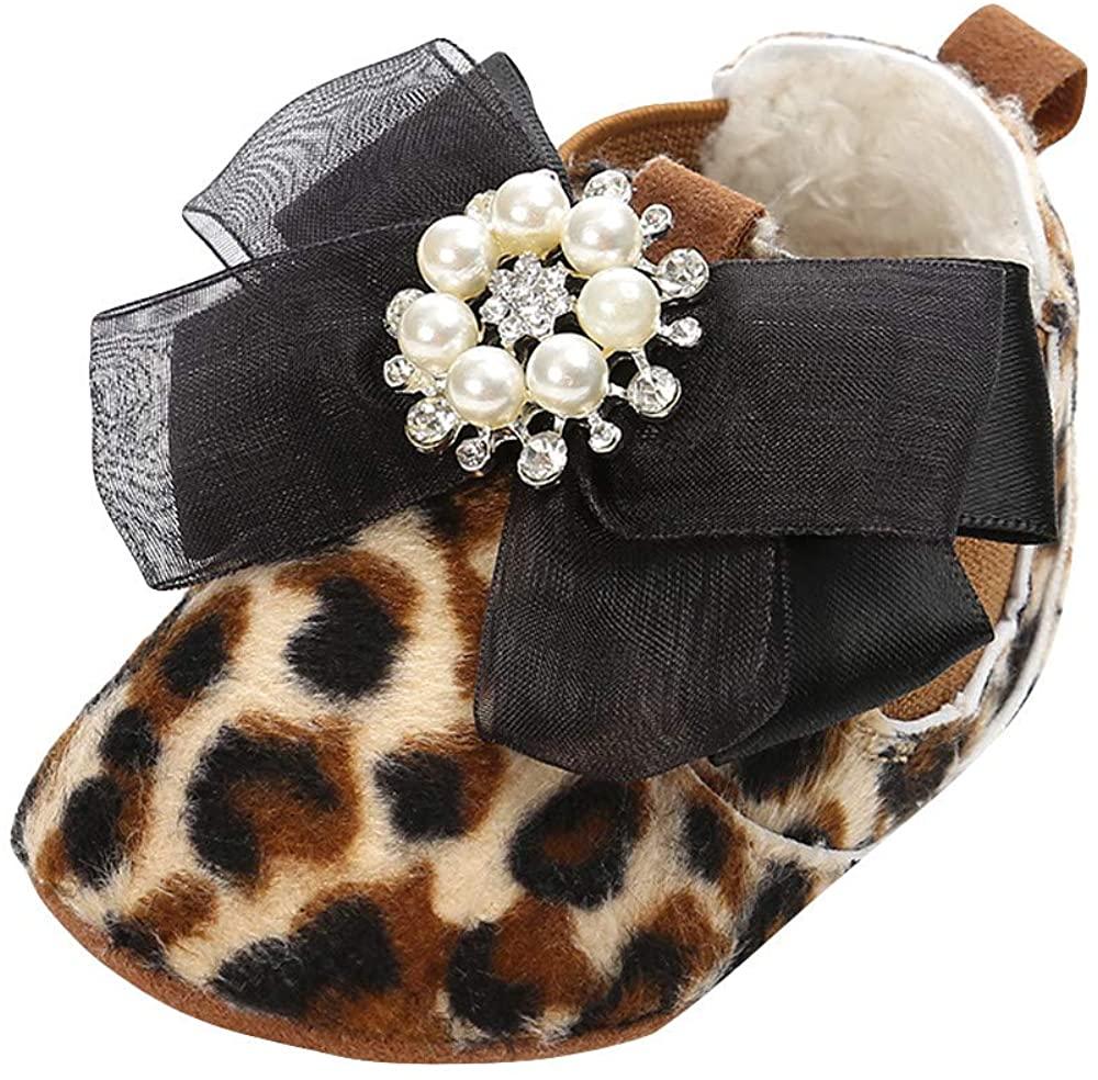 Newborn Baby Girls Princess Cotton Shoes Leopard Diamonds Pearl First Walker Bow Shoes