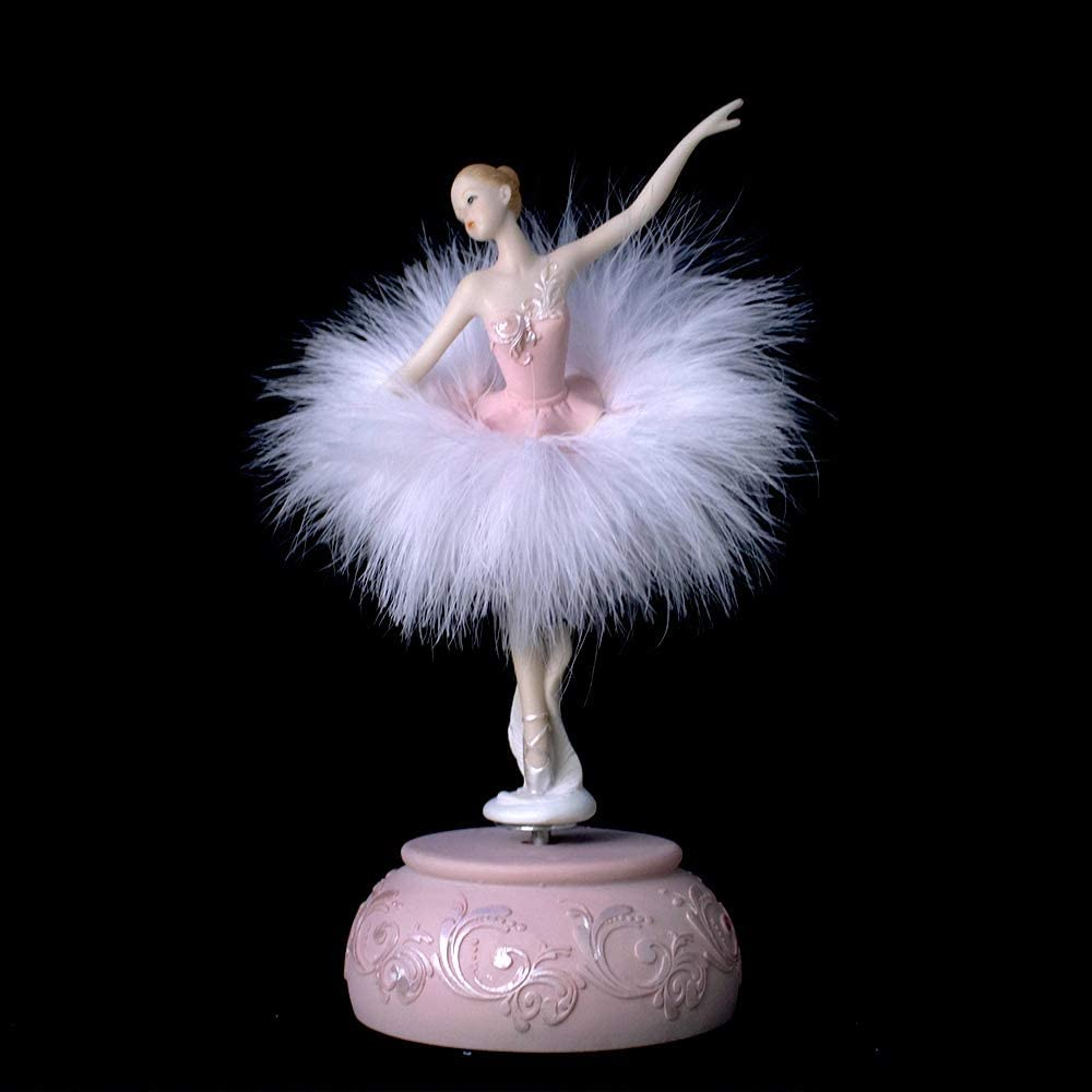 Chagar Feather Skirt Ballerina Rotating Music Box Figurine,White and Pink Manual Control Dancing Girl Musical Box for Girl Kids Gift (Pink)