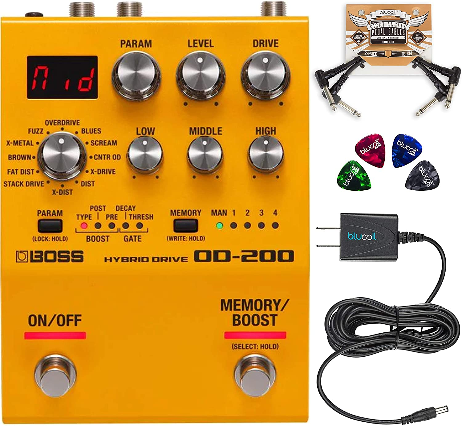 BOSS OD-200 Hybrid Drive Overdrive Distortion Pedal Bundle with Blucoil Slim 9V Power Supply AC Adapter, 2-Pack of Pedal Patch Cables, and 4-Pack of Celluloid Guitar Picks