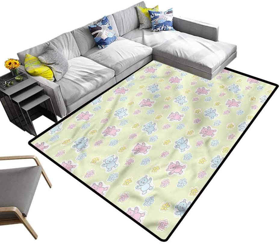 Nursery, Soft Carpet Baby Toy Figures Floral Kids Carpet Extra Large Suitable for Baby Nursery Decor, 3'x 5'