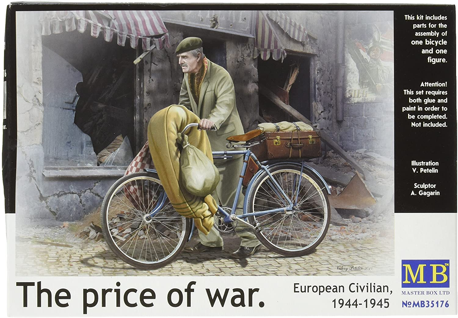 Master Box Models The Price of War European Civilian 1944-1945 Model Kit with Bicycle and Photo Etched Parts (1/35 Scale)