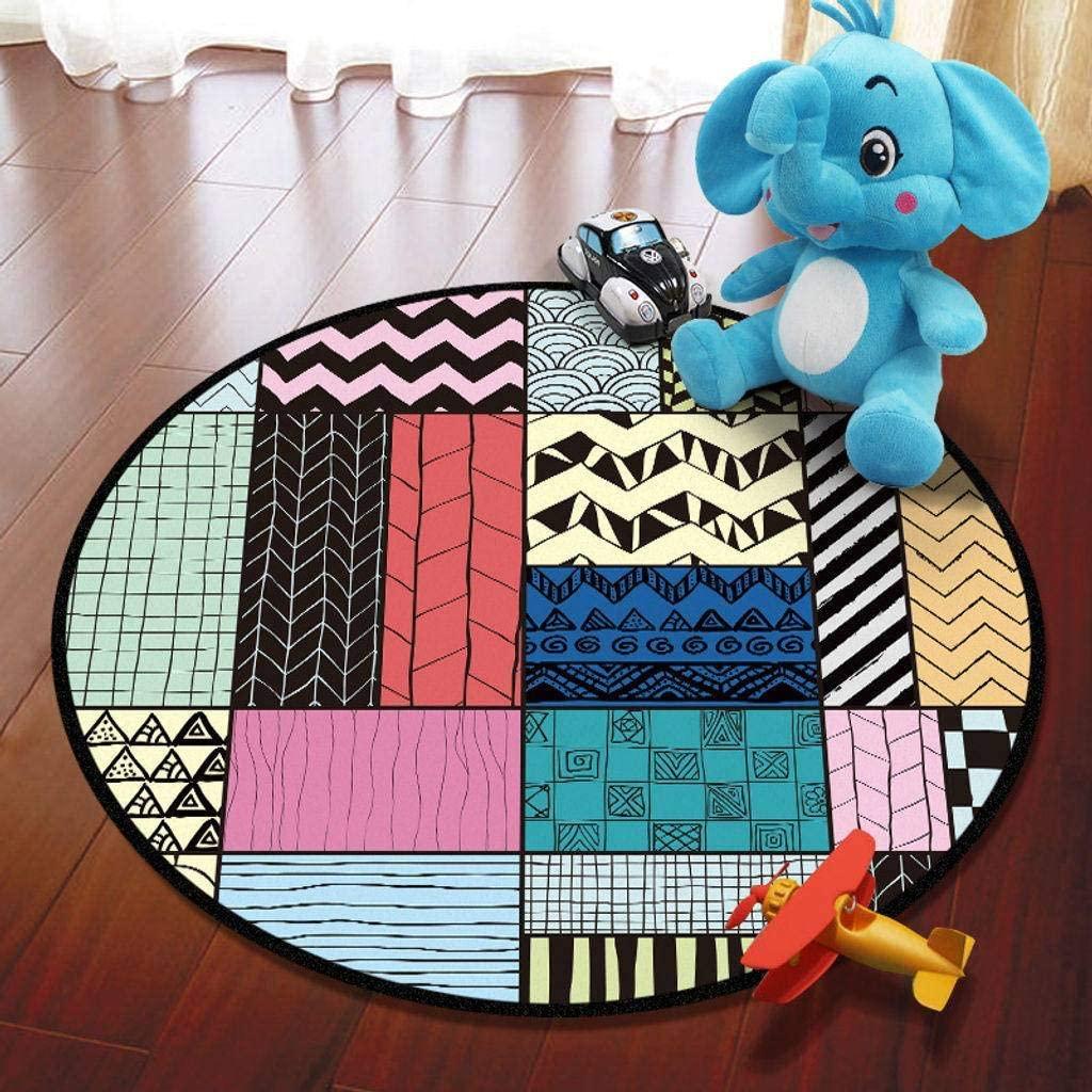 Comfy Printed Rug, Crawling mat Round Soft Easy Clean Kids Carpet Playmat Kids Baby Carpet for Kids Room Nursery Indoor -B-Diameter120cm