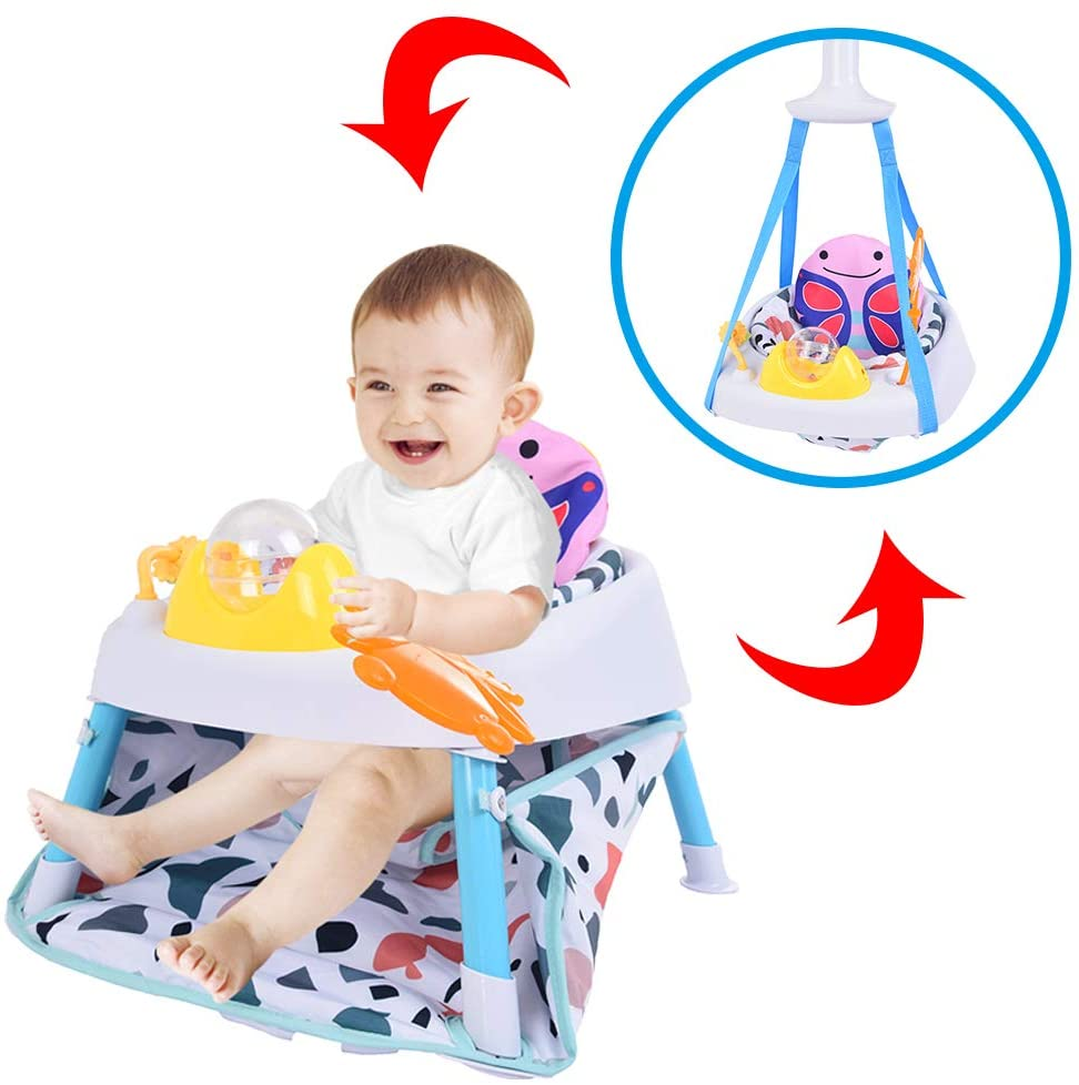 Baby Jump Chair, 2 in 1 Joy Rocking Chair & Happy Hanging Basket, Multi-function Children's Fun Activity Center Workbench, Lightweight Baby Jumper with Toys for On-the-go and at Home (Multicolour)