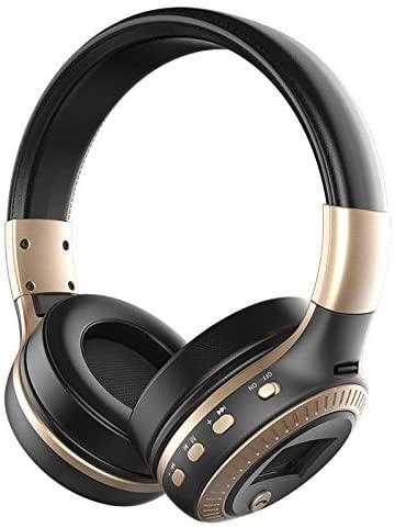 B19 LCD Display HiFi bass Wireless Bluetooth Headphone for iPhone 7 samung xiaomi earphone With FM Radio Micro-SD Slot (Pack Of 3) (Black/Golden)