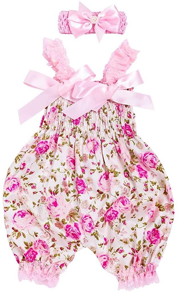 Efaster Baby Girls Floral Romper Bodysuit Jumpsuit+Headband Set for 0-12Months