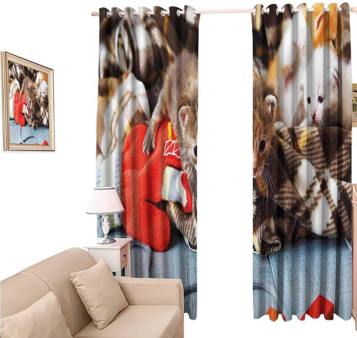 oobon Window Blackout Curtains Fabric, Cats Kittens and Mittens Newborns Baby Animals in an Plain Blanket Wood Play Toys Adorable, 108 Inches Long for Nursery Room, 96x108 inch
