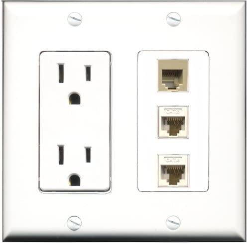 RiteAV - 15 Amp Power Outlet 1 Port Phone Beige 2 Port Cat6 Ethernet Ethernet White Decorative Wall Plate