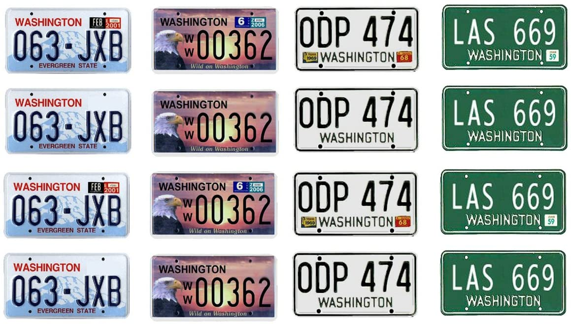 1: 25 scale model car Washington license tag plates