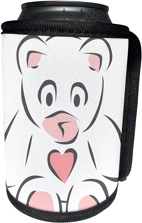 3dRose PS Creations - Cute White Lovable Tedd Bear - Stuffed Animals - Kids Art Décor - Can Cooler Bottle Wrap (cc_59087_1)