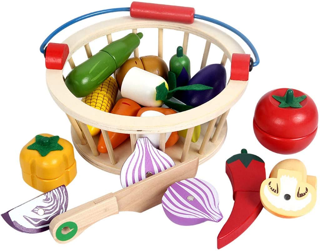 Kitchen Games for Boys Girls Magnetic Wooden Cutting Vegetables Food Play Toy Set with Basket for Kids Role Playing Game (Vegetable(B))