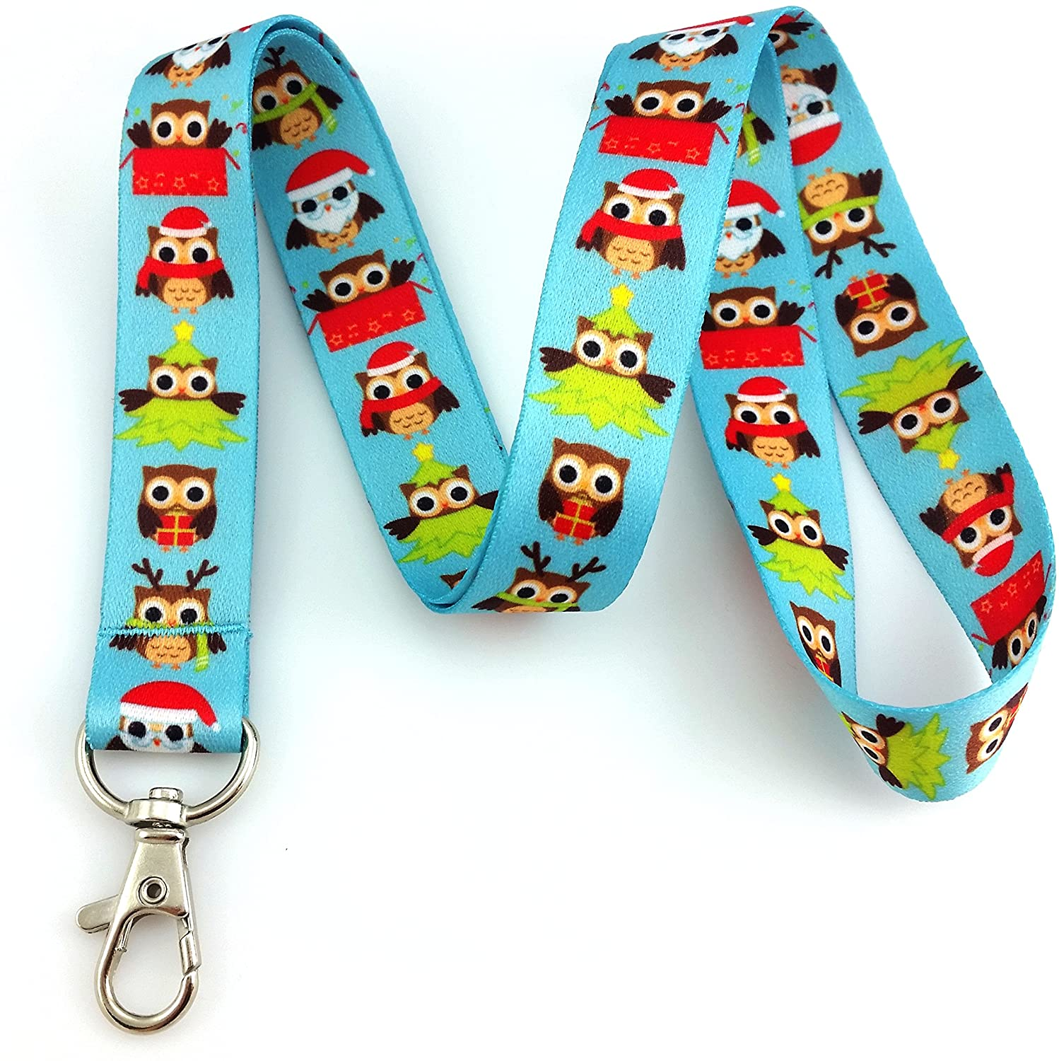 Winter Fun Owl Print Lanyard Key Chain Id Badge Holder Christmas Holiday Design