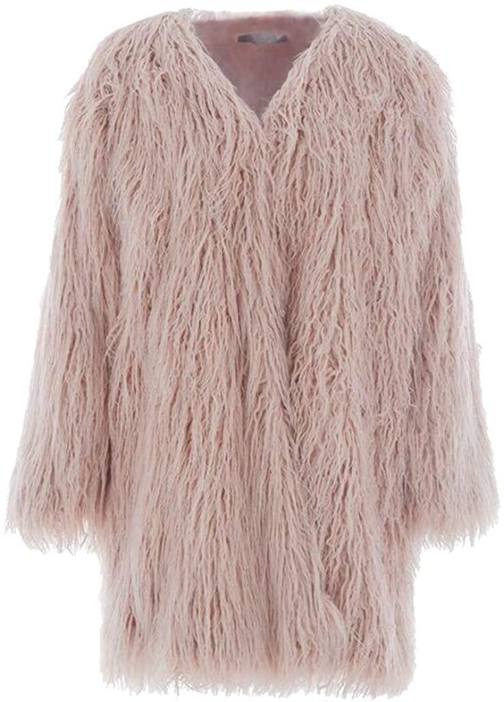 Kiminini Women Fashion Pure Color Winter Warm Faux Fur Cardigan Coat Casual Long Sleeve Loose Thick Overcoat Jacket