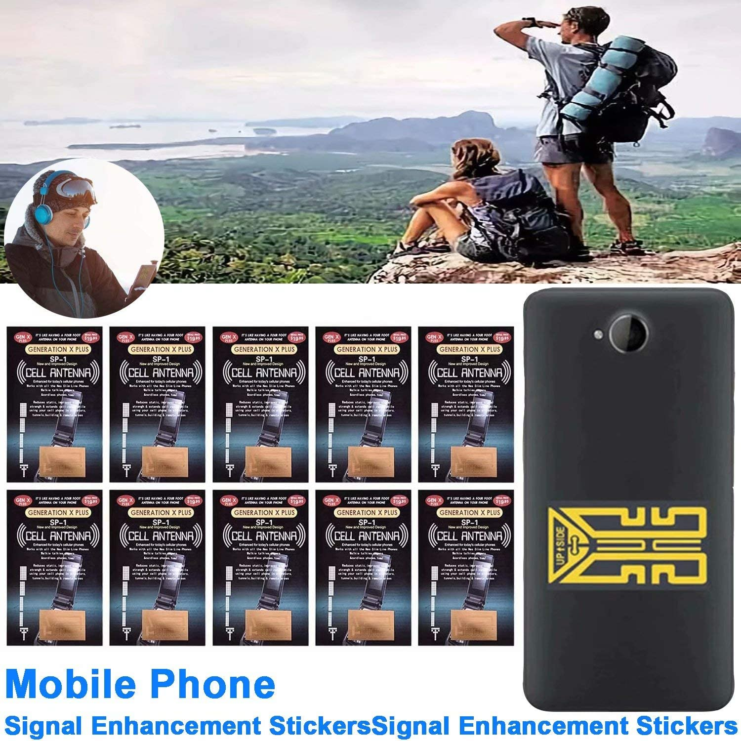 Cell Phone Signal Enhancement Stickers Mobile Phone Signal Enhancement Stickers, Antenna Signal Amplifier, Booster Your Signal in Travelling,Taking The Lift,Camping, Mountaineering