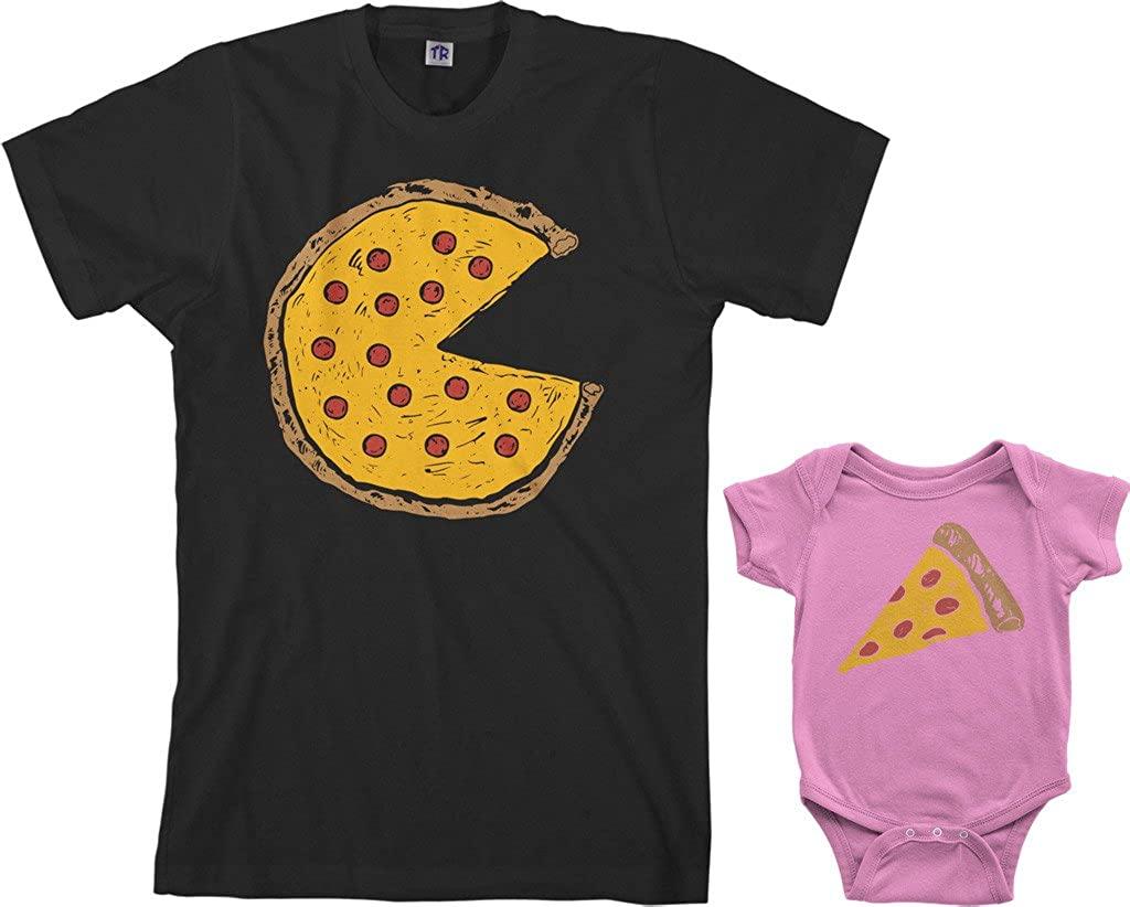 Threadrock Pizza Pie & Slice Infant Bodysuit & Mens T-Shirt Matching Set (Baby: 12M, Pink|Mens: M, Black)