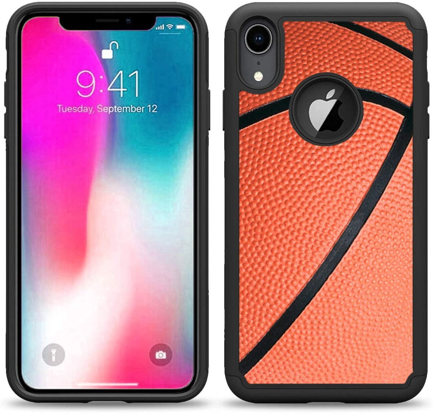 SunCases Hybrid Case for iPhone XR - Basketball Hard Anti Scratch Resistance with Full Protection Cover