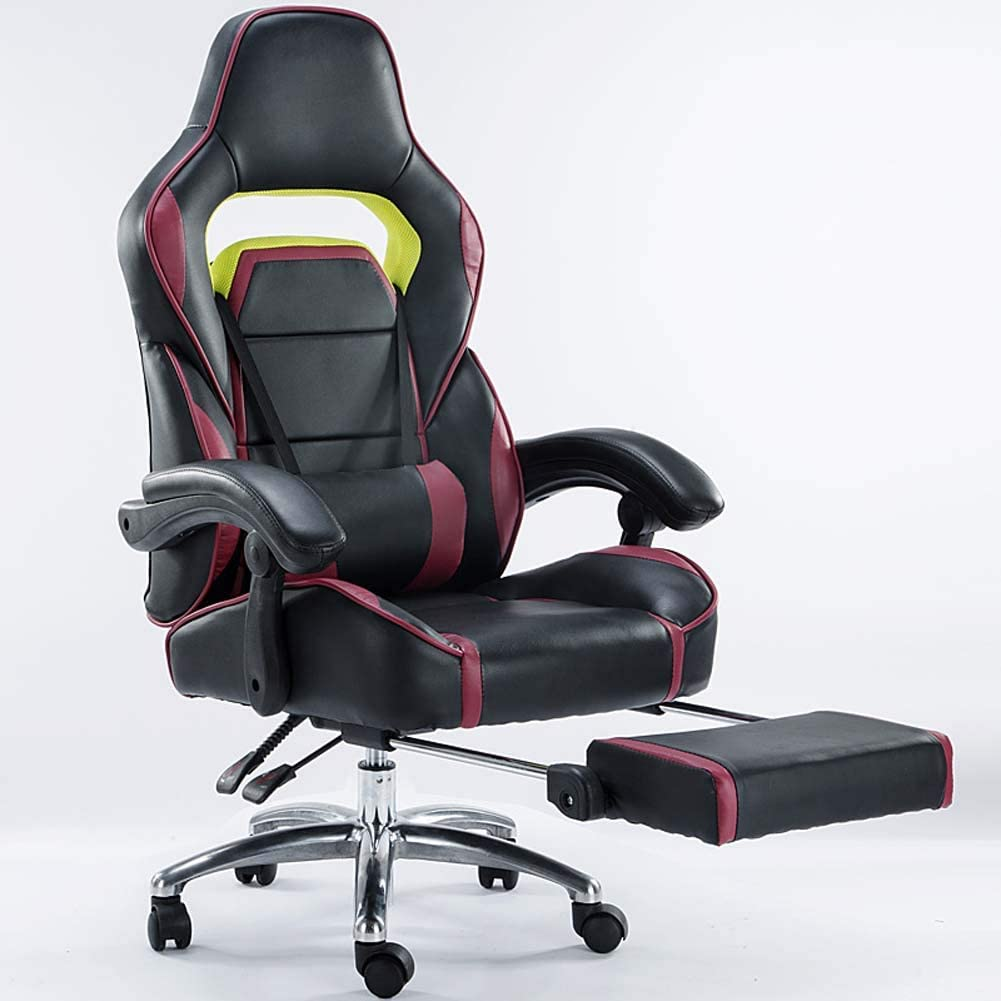 Gasgff Office Chair Reclining 170 ° Liftable Racing Chair E-Sports Chair Lunch Break Chair Ergonomic Chair Chair,Black