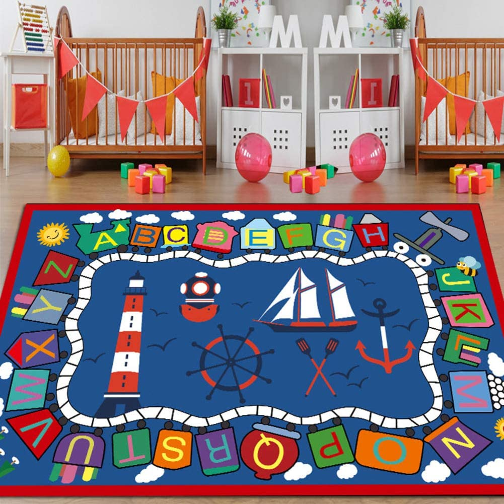 GE&YOBBY Kids Learning Play Mat,Faux Wool Area Rugs Not-Slip Children Carpet with Letters Number Color for Living Room Bedroom Playroom Nursery -e 120x180cm(47x71inch)