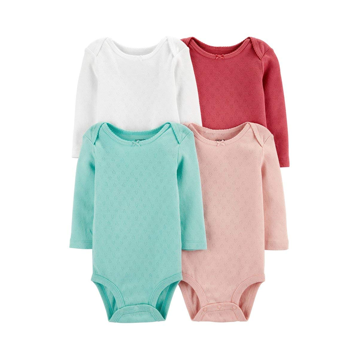 Carter's Baby 4 Pack Long Sleeve Bodysuit Set, Girls Solid, 6 Months