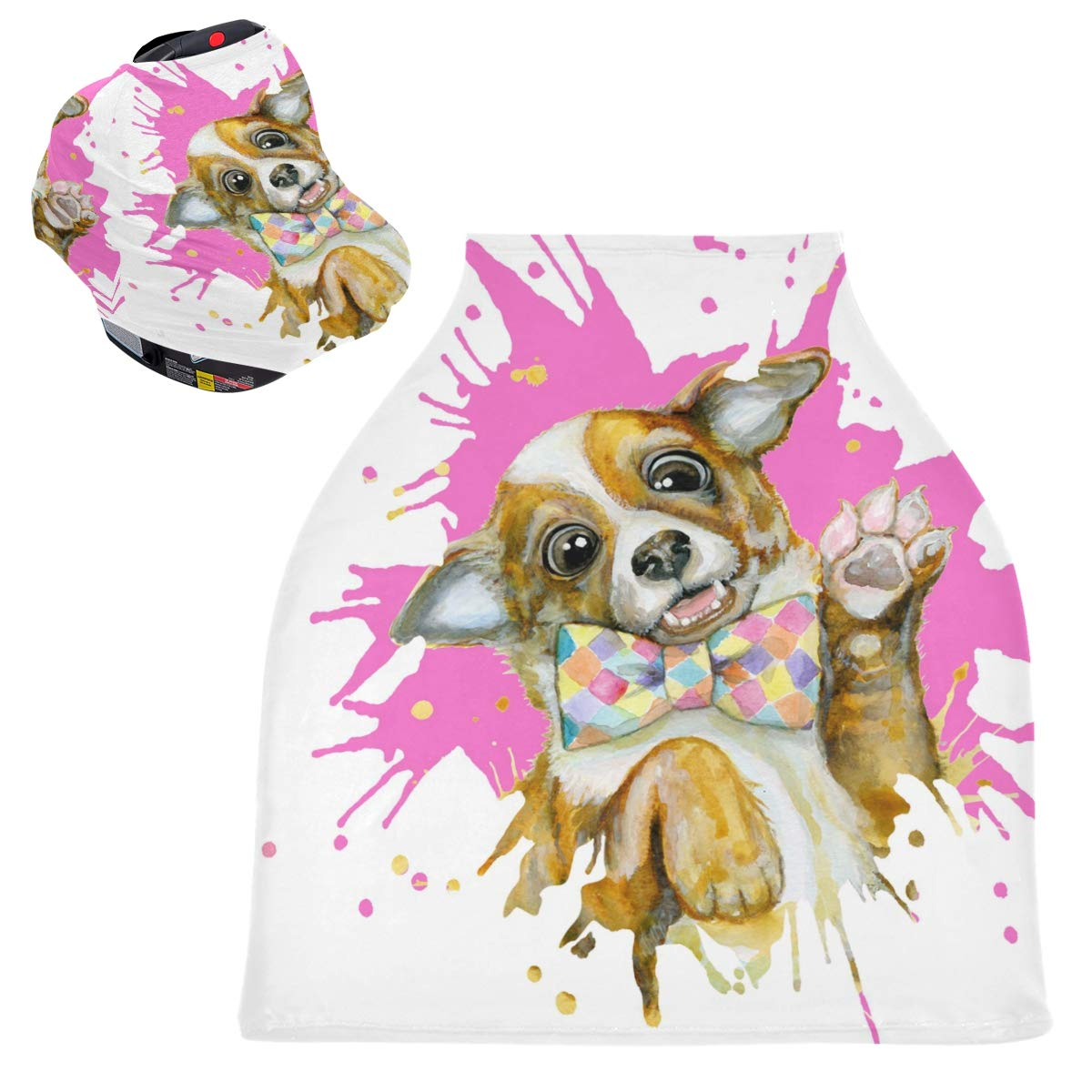 Stretchy Baby Car Seat Canopy - Funny Dog Watercolor Infant Stroller Cover Multi Use Carseat Scarf Nursing Cover for Baby Boy and Girl