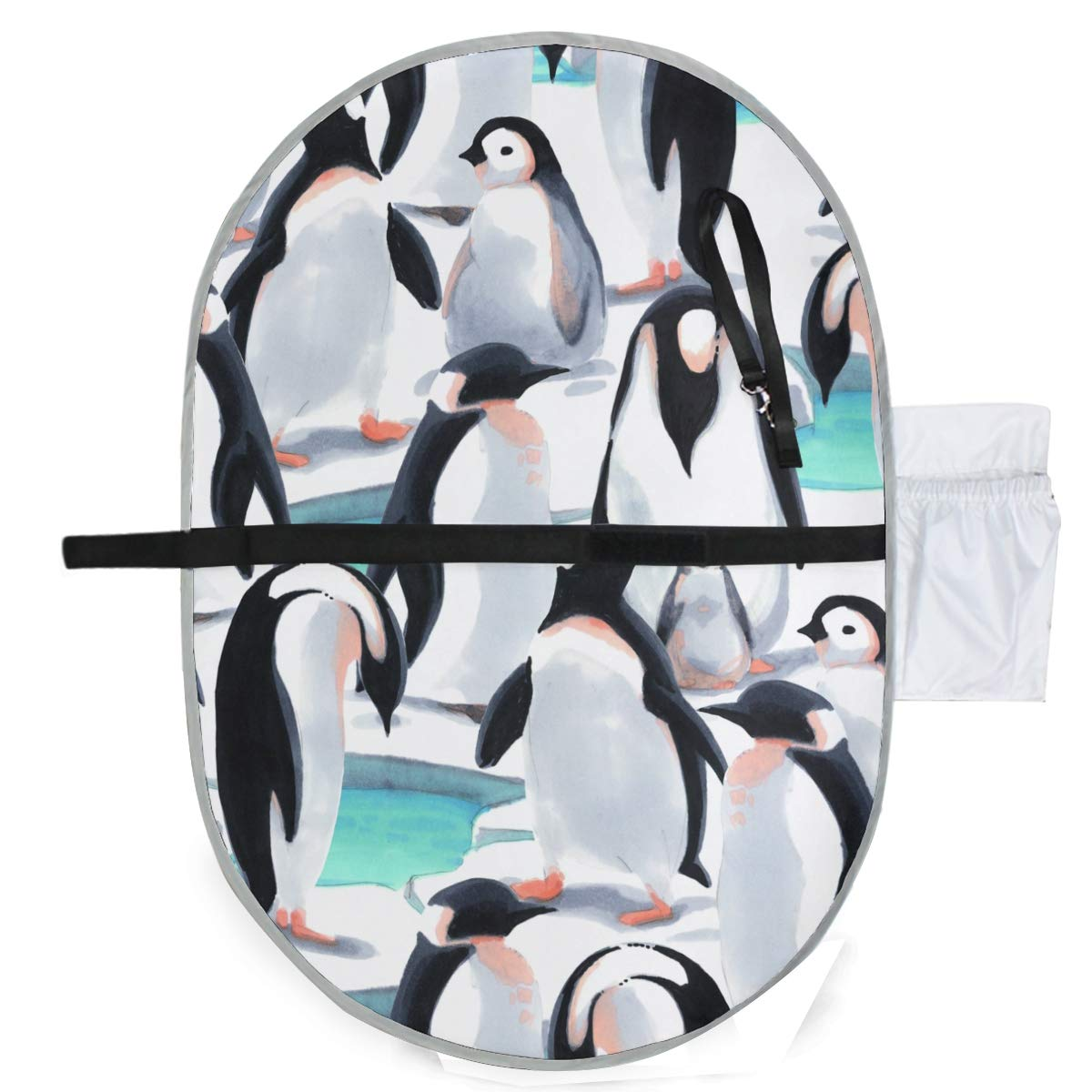 Waterproof Washable Baby Diaper Changing Pad Mat Watercolor Penguins Portable and Foldable Infant Large Nappy Mat 27x20 inch