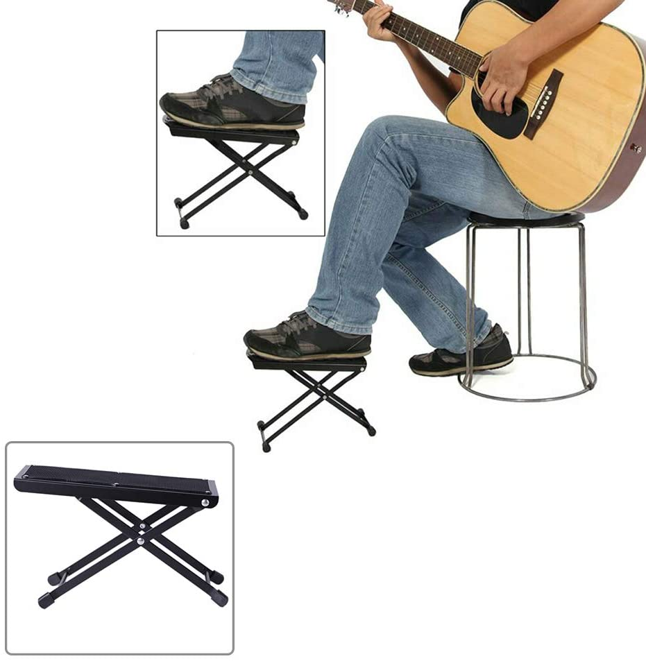 BEESCLOVER Portable Foldable Adjustable Guitar Footstool Footrest Rest Acoustic Electric Guitar Parts for Electronic Equipment