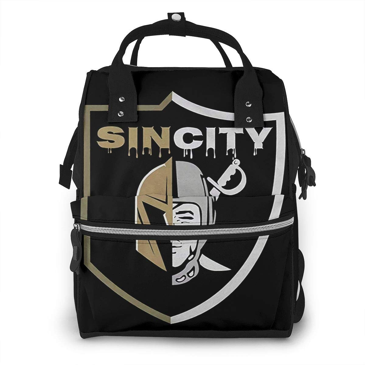 Sin City Las Vegas Raiders Golden Knights Fashionable Durable Large Capacity Diaper Bag Mommy Backpack