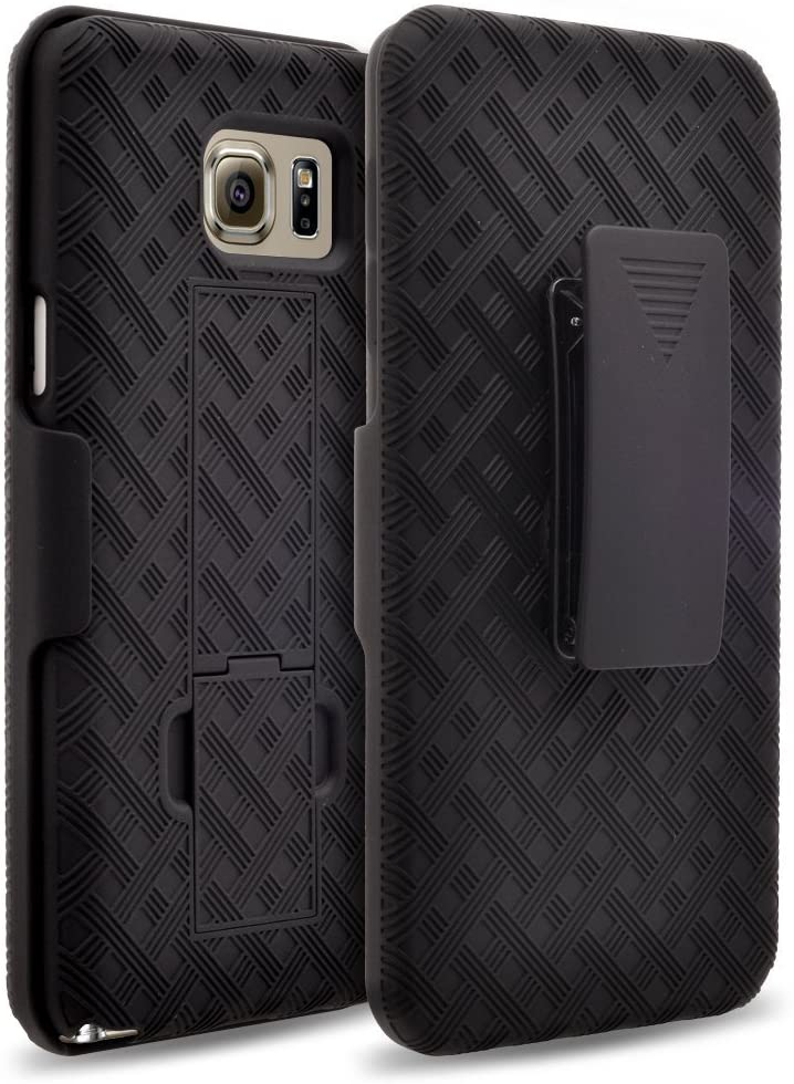 Galaxy Note 5 Case Holster Combo with Kick Stand & Belt Clip Compatible for Samsung Galaxy Note 5 Phone Case (Verizon,T-Mobile, AT&T, Sprint) - Black Holster Shell