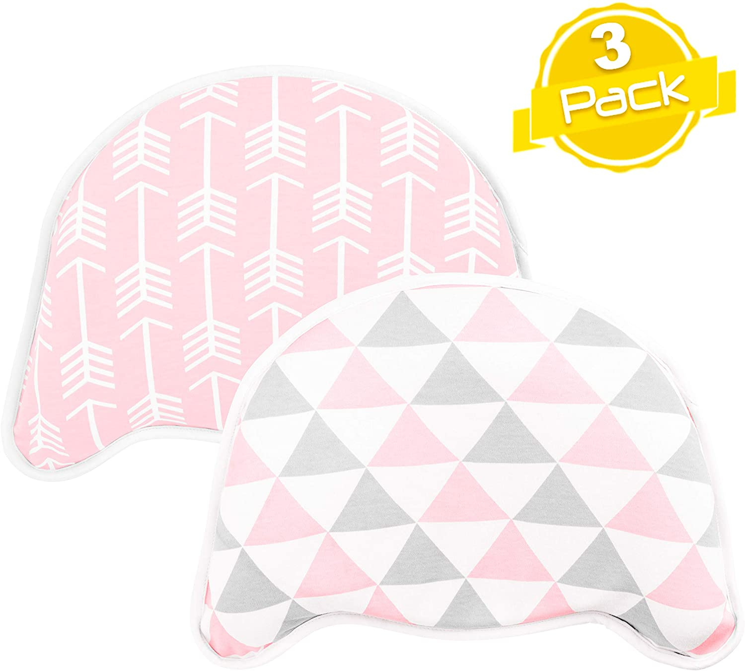 BaeBae Goods Baby Head Shape Pillow – Flat Head Pillow – Flat Head Pillow for Baby with 2 Removable Covers – Pure Cotton Pillow for Newborn – Supportive Head Pillow for Babies – Flat Head Pillow