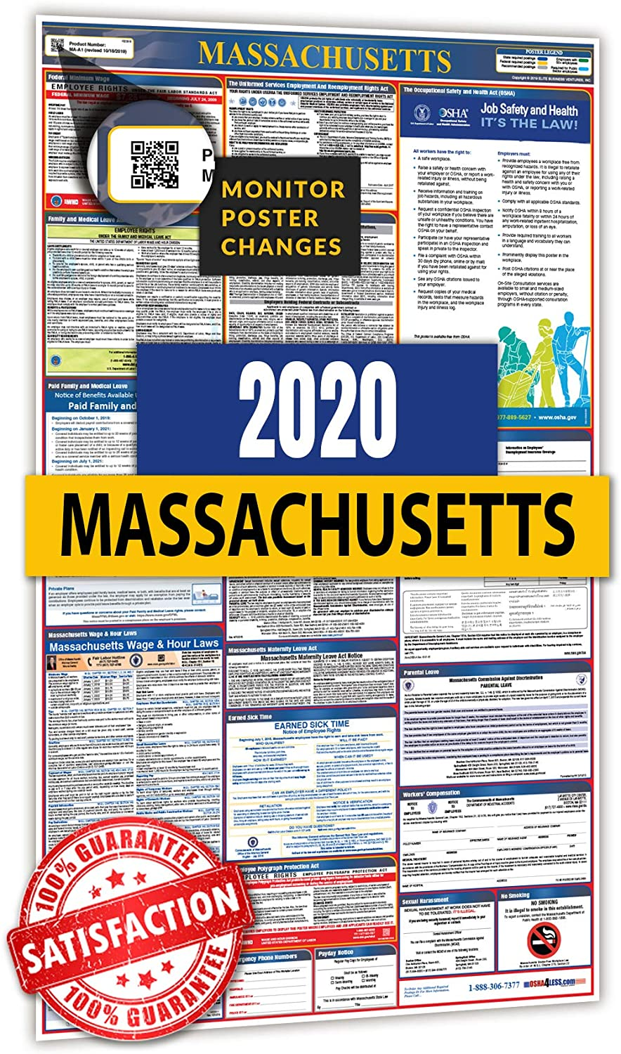 2020 Massachusetts All in One Labor Law Posters for Workplace Compliance