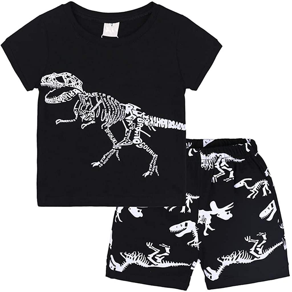 BATTILO HOME Baby and Little Boys' 2pc Cotton Summer Animal Pajamas Shorts Sets